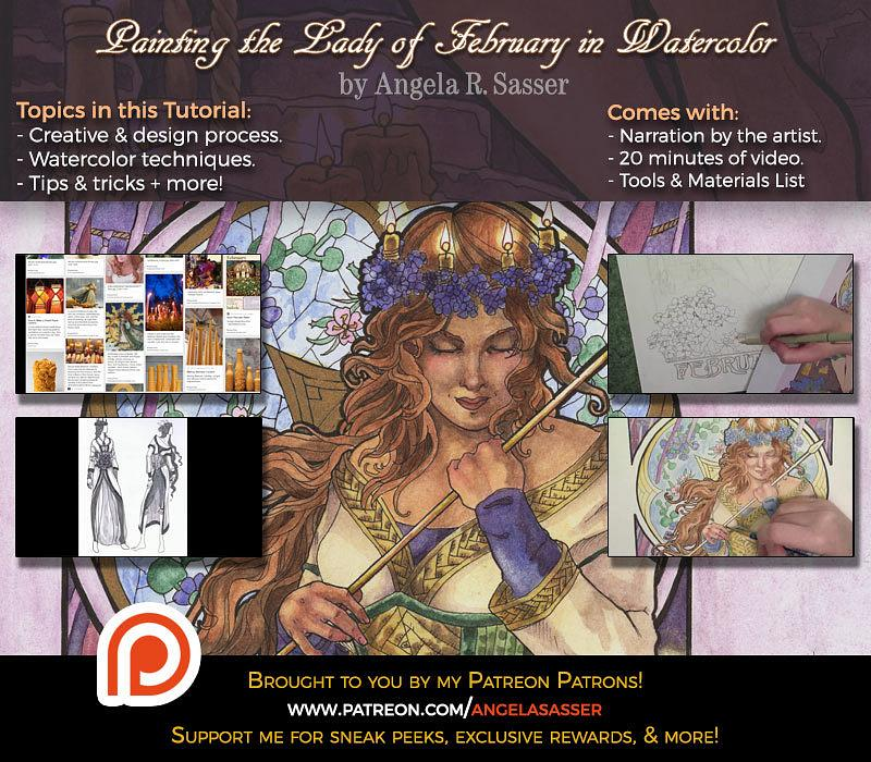 Painting Tutorial - Lady of February in Watercolor and Ink